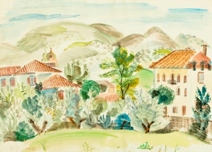 bonitos paisajes con acuarelas, pinturas en acuarela con casas de campo y árboles en color verde, paisajes rurales bonitos