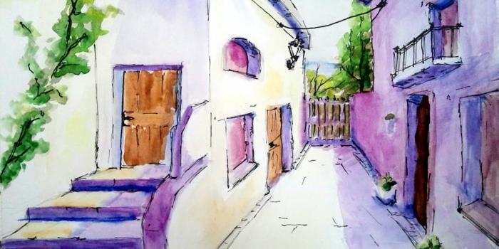 los mejores ejemplos de dibujos en acuarela, dibujos con acuarelas originales en colores bonitos, paisaje rural en color lila