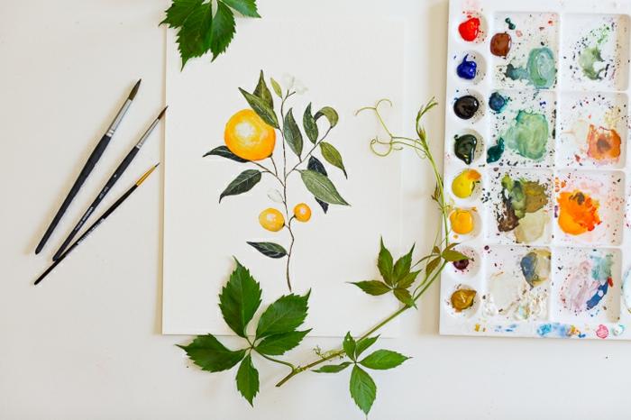 preciosos dibujos de flores y motivos florales, dibujos con acuarelas, dibujos acuarela con limones con plantas verdes