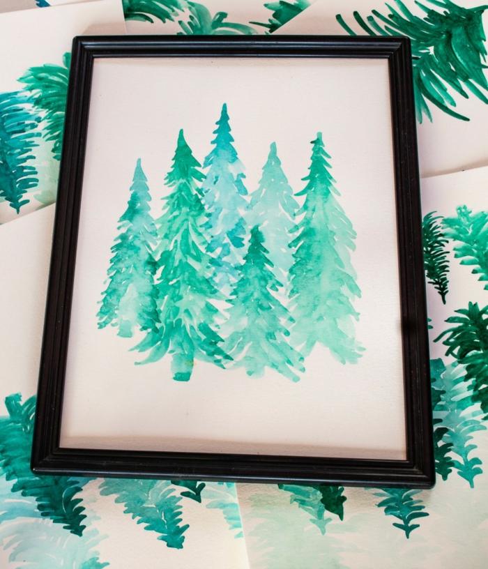 árboles en color verde bonitos para colgar en tu pared, dibujos con acuarelas para principiantes y avanzados, fotos de dibujos