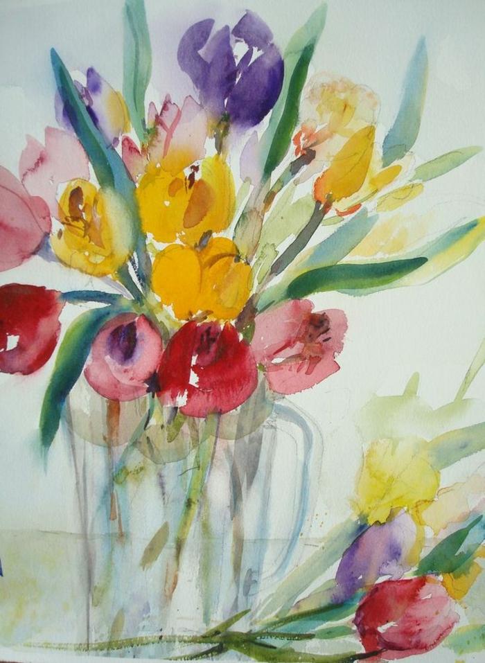 fotos de dibujos con acuarelas, más de 90 ideas de dibujos bonitos en colores acuarela, dibujo de tulipanes originales