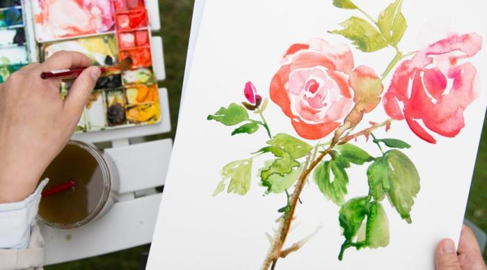 preciosas rosas dibujadas con acuarelas, dibujos con acuarelas que inspiran, galería de imagenes con pinturas en acuarela