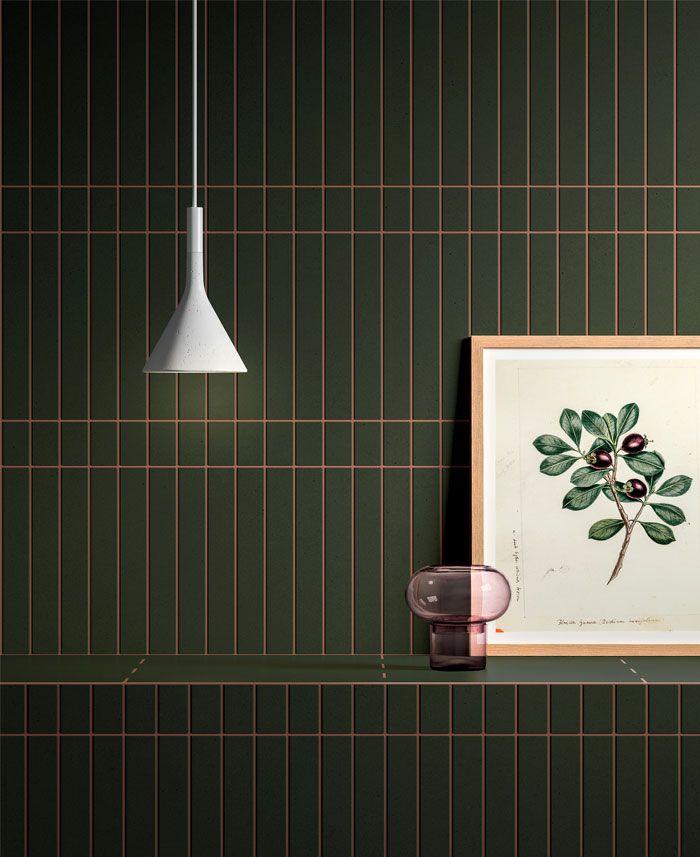 como escoger los mejores azulejos para baños, cuartos de baño fotos, baño decorado en color verde oscuro, azulejos pequeños, cuarto decorativo con motivos botánicos
