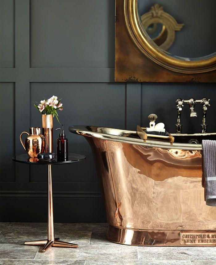cuartos de baño con bañeras en estilo vintage, baño decorado en negro y color cobrizo, cuartos de baño en fotos