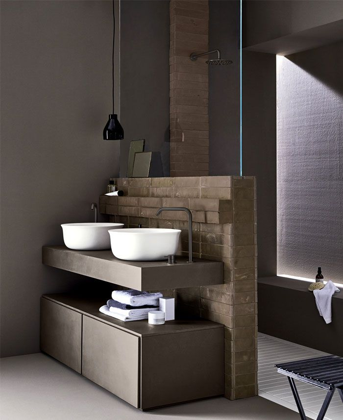 super originales propuestas de baños en estilo industrial, baños modernos decorados en colores en tendencia, baños rústicos