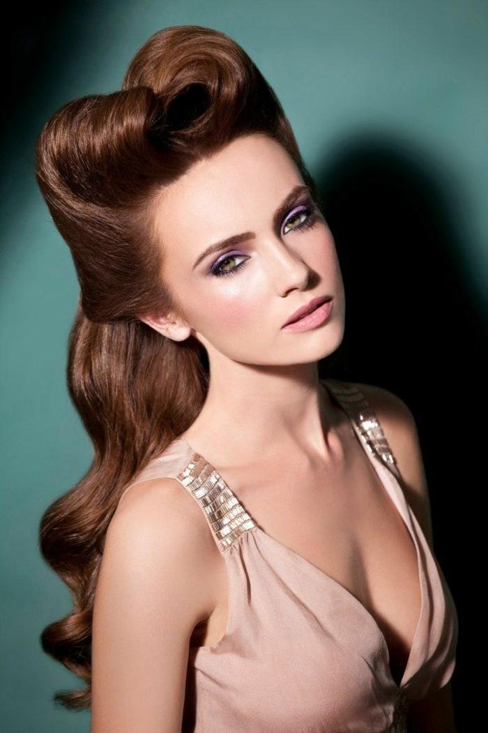 adorables propuestas de peinados pelo largo mujer, bonito semirecogido con mucho volumen, pelo ondulado en ondas