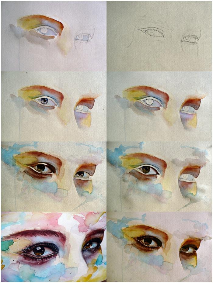tutoriales de pinturas en acuarela paso a paso, como dibujar ojos con acuarelas, las mejores ideas de dibujos acuarelas fáciles
