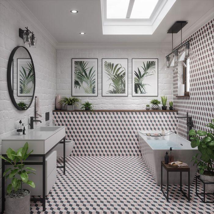 fotos de baños reformados, cuartos de baño en colores claros con decoración en las paredes, detalles originales en el baño