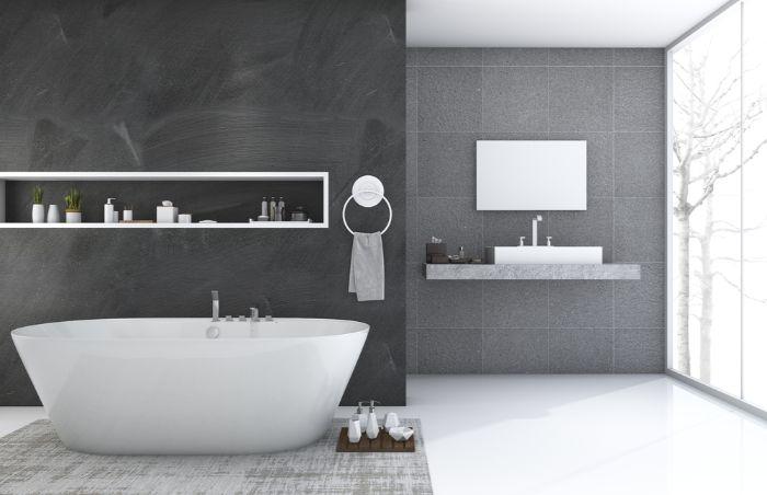 cuartos de baño grandes decorados en blanco y gris, decoracion cuartos de baño 2019, tendencias en decoración de interiores