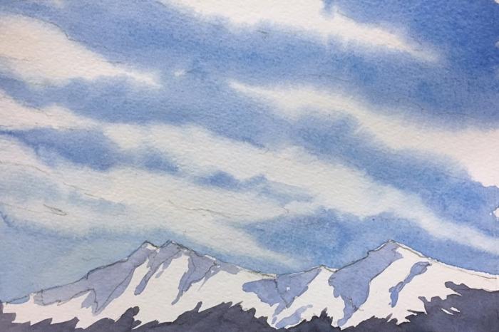 como aprender a dibujar paisajes, dibujos de paisajes bonitos en colores acuarela, montañas rocosas con cielo nublado