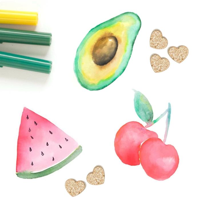 como aprender a dibujar frutas y detalles pequeños, tutoriales para principiantes fáciles en fotos paso a paso en colores