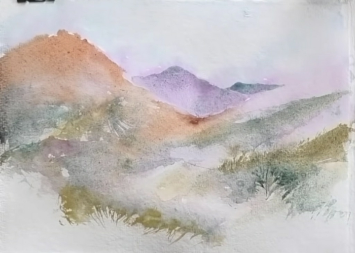 paisajes con acuarela en colores suaves, dibujos con acuarelas faciles, originales ideas sobre como pintar un paisaje