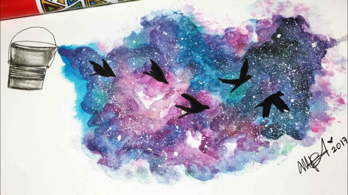 precioso dibujo de aves en pleno vuelo en cielo estrellado en bonitos colores, dibujos con acuarelas faciles para descargar
