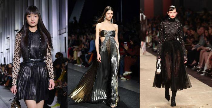 vestidos en color negro con detalles en plateado y print animal, tendencias invierno 2019, vestidos inspirados en las tendencias