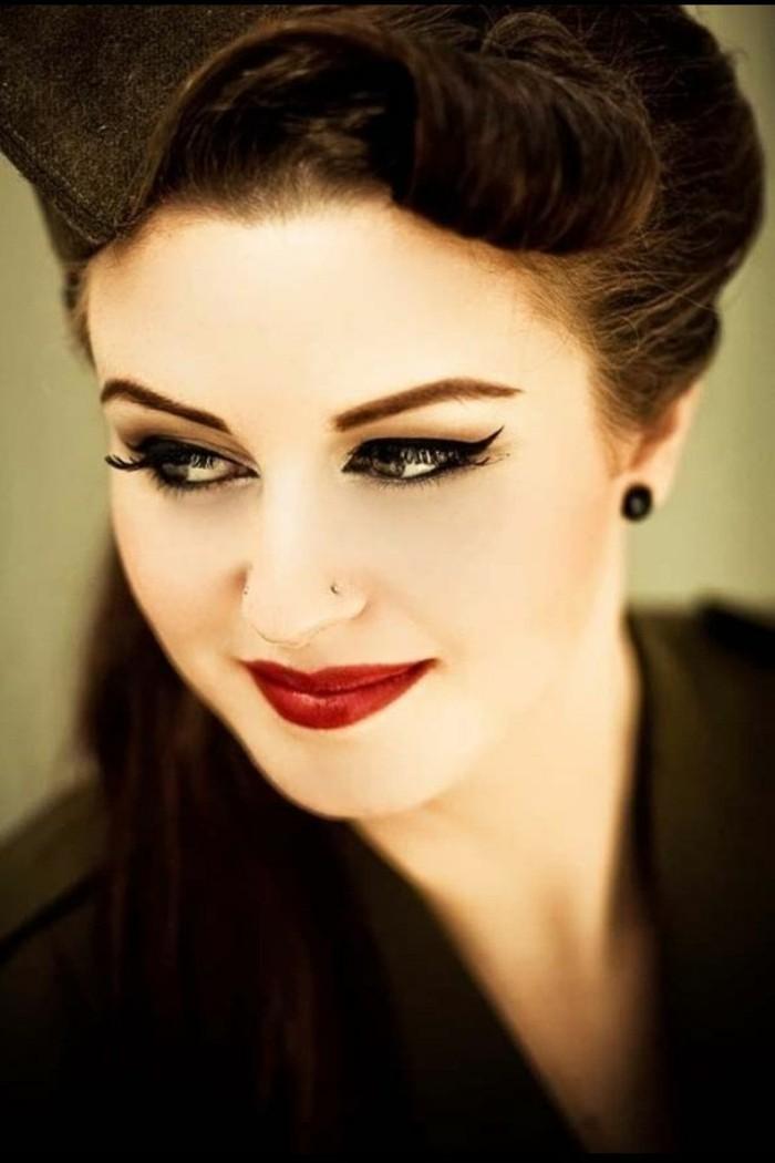 adorables fotos maquillaje pin up mujer, peinados bonitos y elegantes pelo recogido estilo pin up, más de 150 fotos de chicas estilo vintage