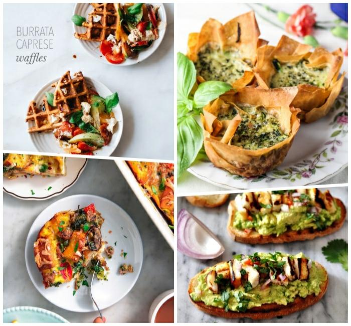 cuatro excelentes ideas de desayunos tardios para el finde, gofre, magdalenas con espinacas y tostadas con aguacate
