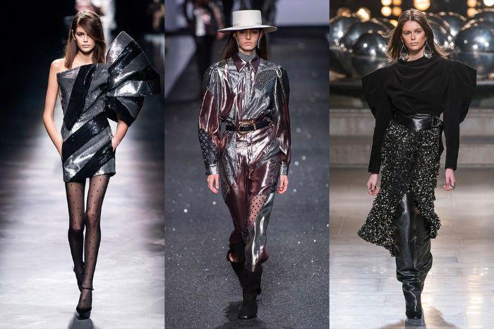 prendas en negro con partes en color plata, tendencias invierno 2019, las mejores ideas sobre qué llevar para ir de fiesta este otoño