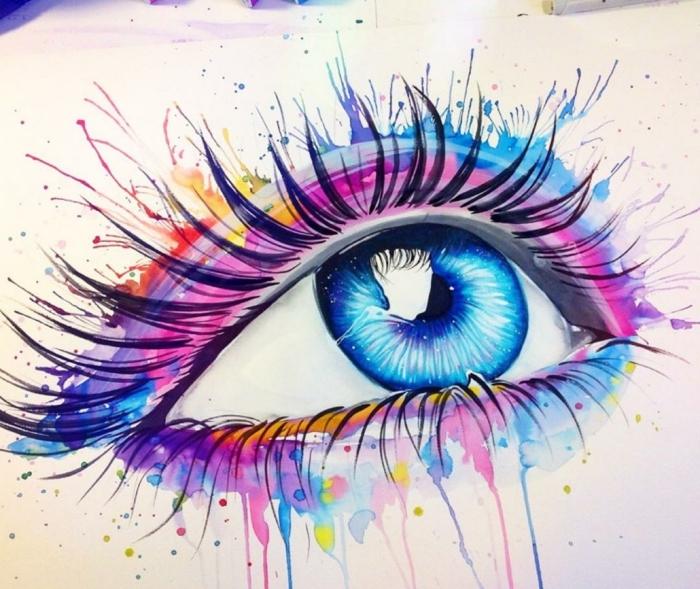 las mejores ideas de dibujos con acuarelas faciles, diubjo de ojo en colores acuarela, dibujos acurela con profundidad