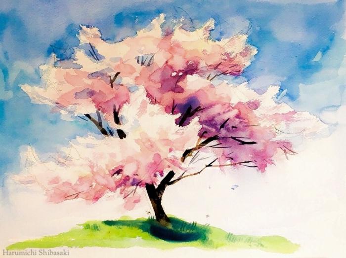 paisajes para dibujar con acuarelas, bonito árbol florecido en color rosado, paisajes bonitos y originales para redibujar