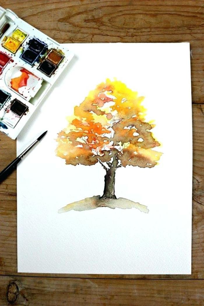 como dibujar un árbol en colores acuarela, paisajes para dibujar fáciles, ideas originales para descargar, dibujos en colores de otoño