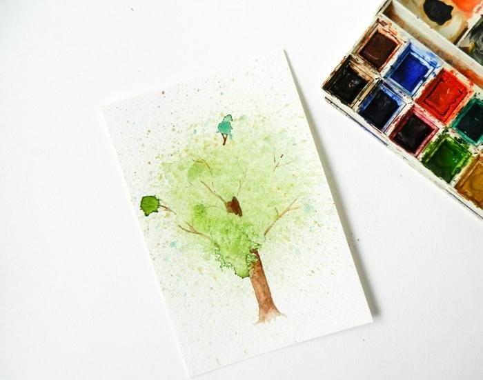 ideas sobre como aprender a dibujar un árbol con acuarela, dibujos fáciles con acuarela originales, dibujos acuarela