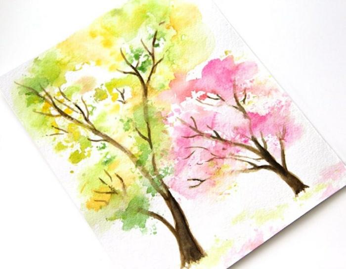 paisajes para dibujar en colores, arboles en color lila y amarillo, pinturas y árboles fáciles de hacer, árboles en colores vibrantes