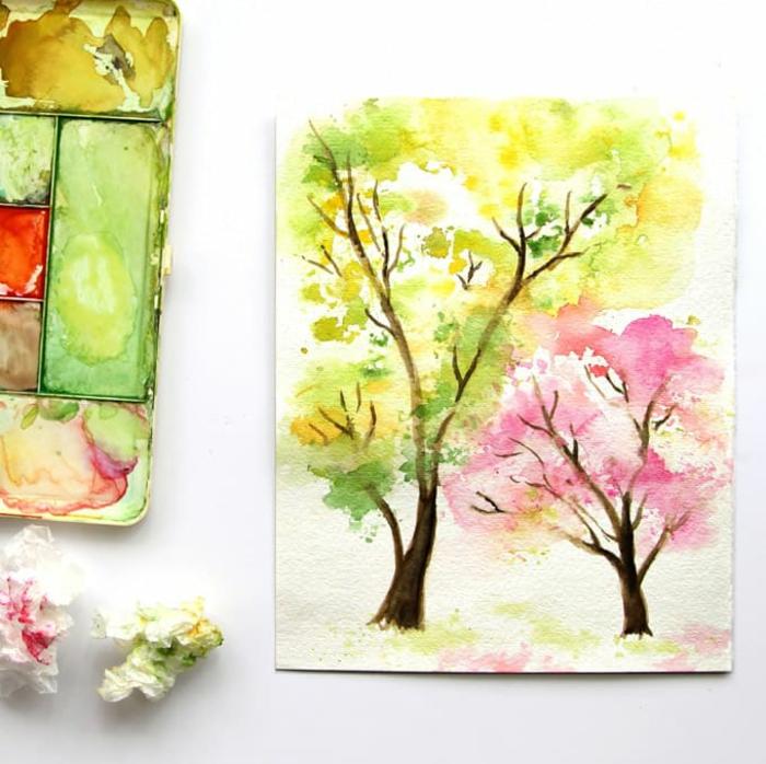árboles en colores pastel dibujados con pintura acuarela, aprender a dibujar con acuarela, paisajes para dibujar en colores