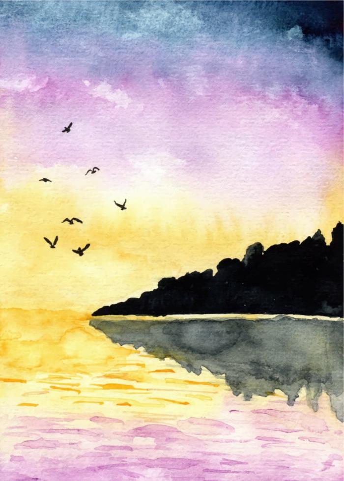 adorable paisaje natural en colores acuarela, aprender a pintar es fácil, como aprender a dibujar con acuarelas, paisajes bonitos