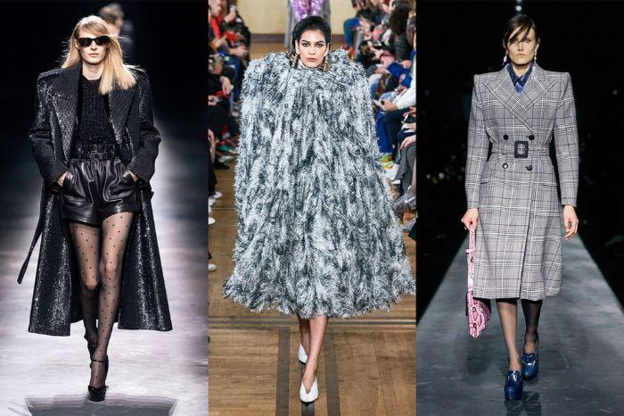 tres propuestas que representa al máximo las tendencias invierno 2019, negro, gris, plumas y estampado Chanel de cuadros