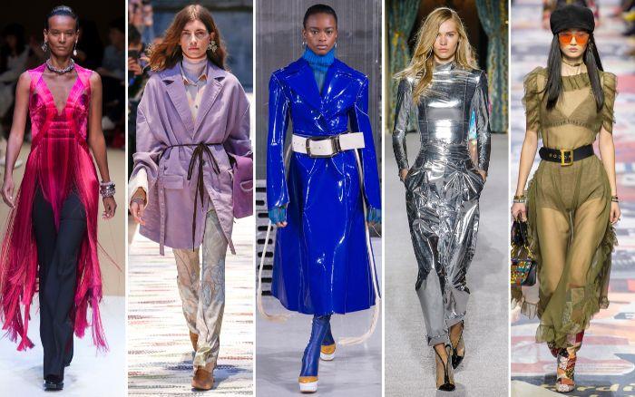 prendas y vestidos en colores metálicos, tendencias invierno 2019, qué colores se llevaran este otoño, abrigo de cuero falso en azul brillante