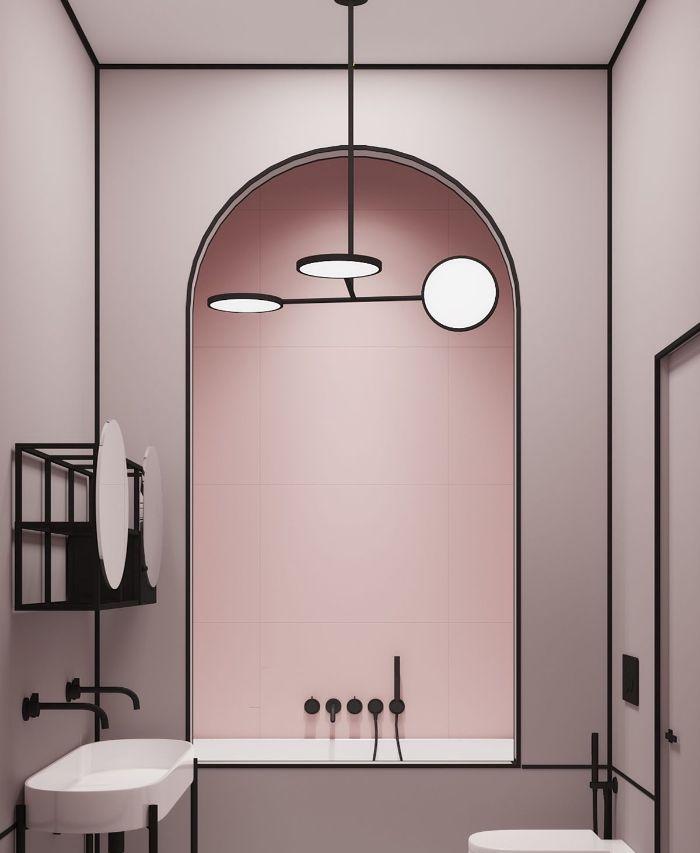 decoracion cuartos de baño originales, baño decorado en estilo moderno, cuartos de baño pintados en color rosado