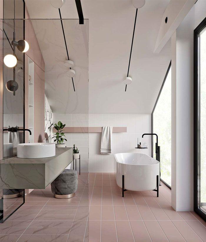 decoracion cuartos de baño, cuartos de baño modernos en blanco y beige, baño grande con bañera, decoración de baños