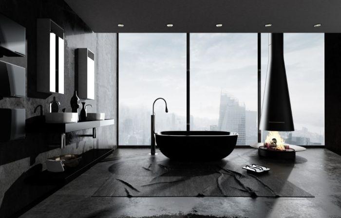 grande baño con vista a la ciudad, decoracion cuartos de baño en colores oscuros, últimas tendencias en cuartos de baño 2019