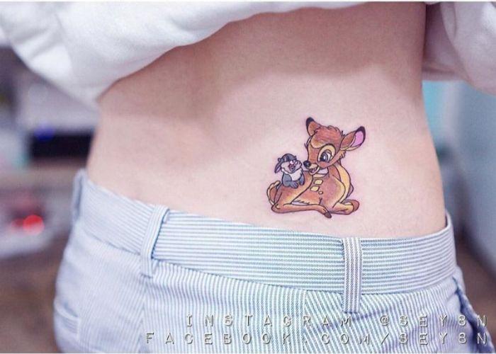 tatuajes temporales Disney, tatuajes pequeños para mujeres, originales ideas de tatuajes en la espalda, diseños de tattoos