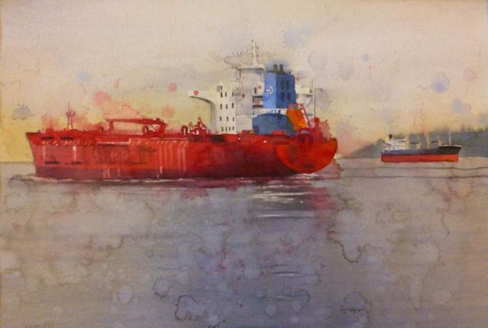 dibujos para dibujar faciles e inspiradores, dibujo de barco en colores acuarela, originales ideas de dibujos para redibujar