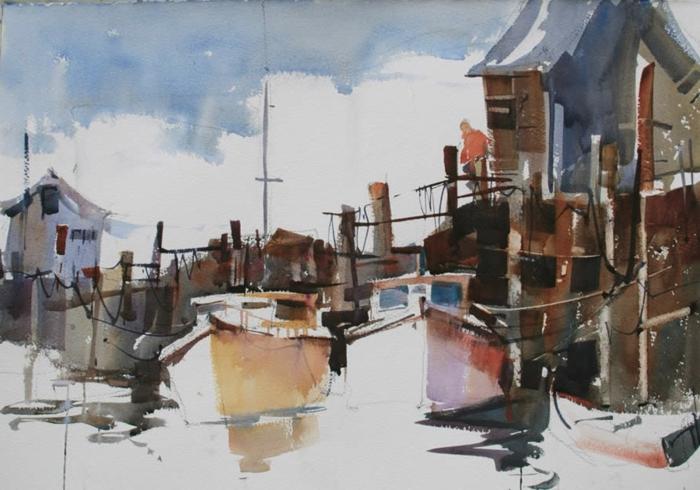 ideas de paisajes para dibujar con acuarelas, dibujos en acuarelas de barcos, fotos de dibujos acuarela bonitos para descargar