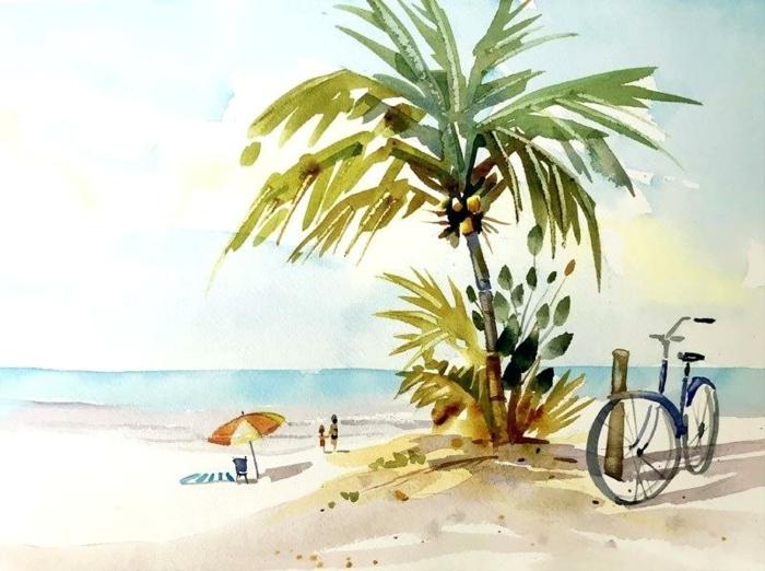 paisajes de verano inspiradores dibujados con acuarelas, paisajes para dibujar sencillos, ideas con acuarelas hermosas
