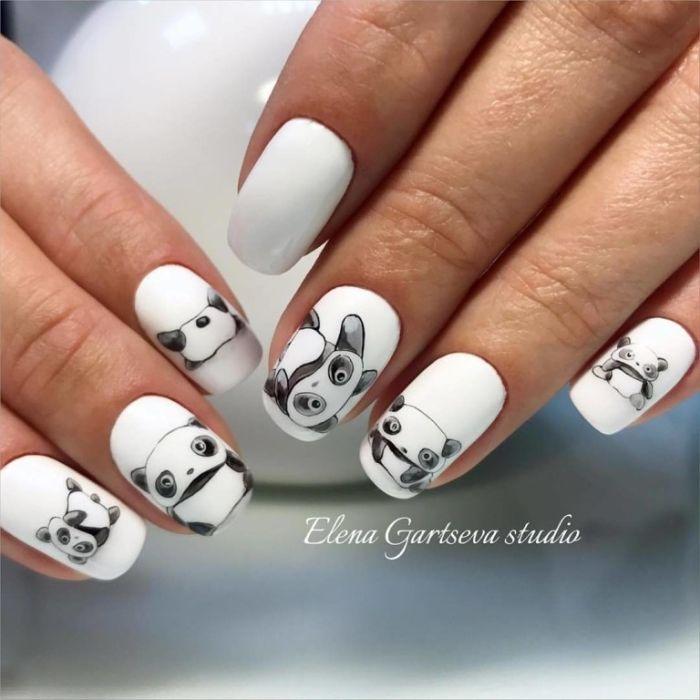 las mejores ideas de uñas de gel decoradas, uñas largas cuadradas con dibujos de pandas, diseños uñas bonitos