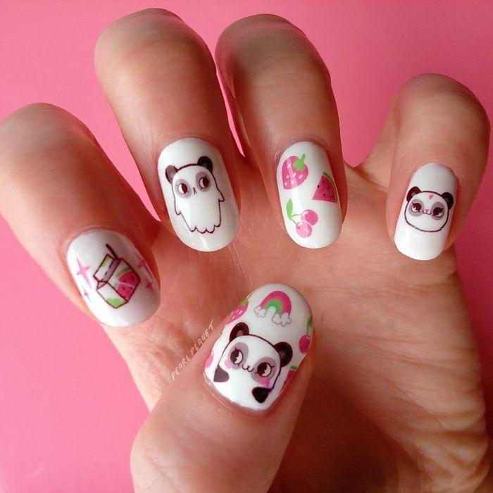 fantásticas ideas de uñas de gel diseños para el verano, uñas ovaladas pintadas en blanco con dibujos divertidos