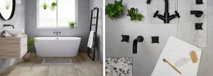años modernos con ducha y bañera, decoración de espacios pequeños, paredes de hormigón, suelo de madera y plantas verdes