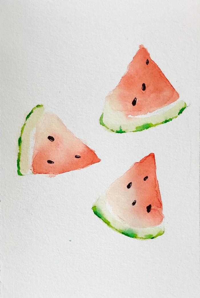 trozos de sandía dibujados con acuarela, motivos veraniegos para dibujar, dibujos de flores y frutas, dibujar es facil