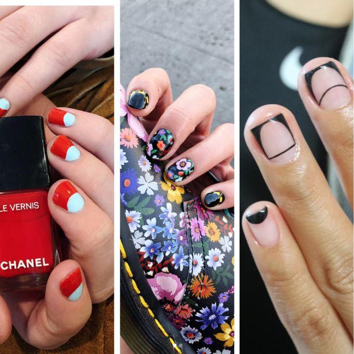 tres ideas de uñas de gel diseños, diseños con elementos gráficos y dibujos de flores en las uñas, fotos de uñas coloridas