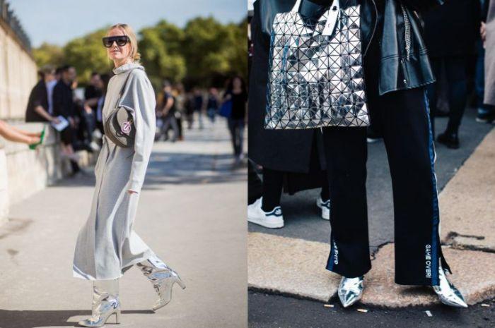 prendas en colores modernos otoño invierno 2019, moda invierno 2019 mujer, monos en color plata y negro con botas plateadas