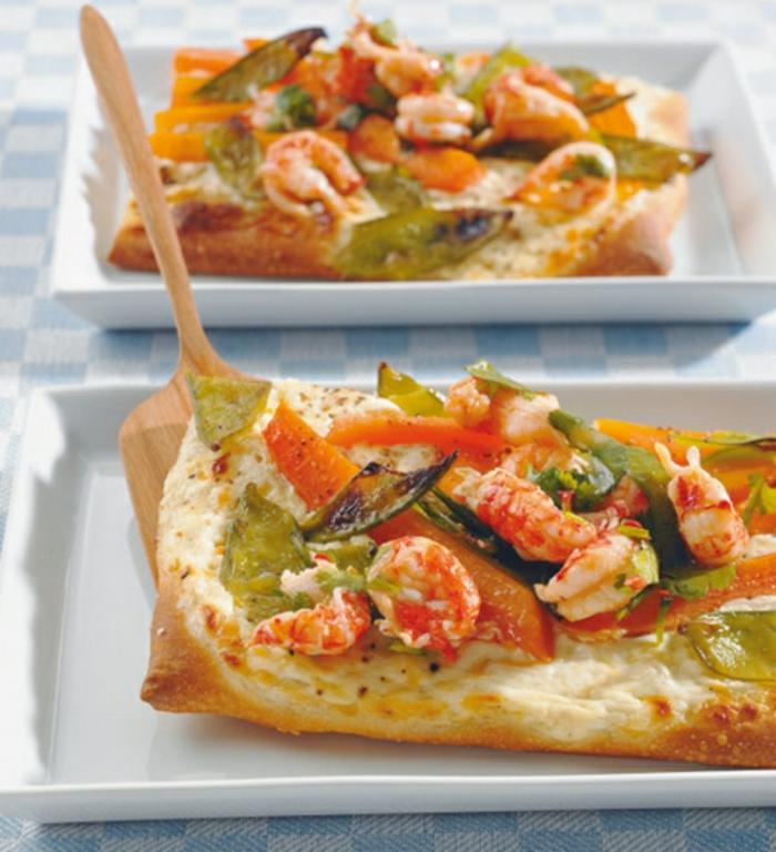 recetas sencillas y rapidas para sorprender a tus amigos este finde, pizza casera con vegetales al horno y camarones