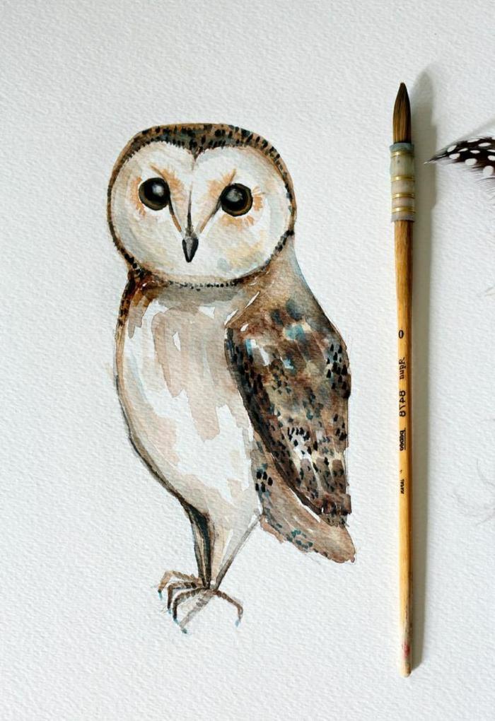 cómo dibujar un búho con acuarelas, tutoriales de dibujos de flores y animales paso a paso, dibujos de flores y animales