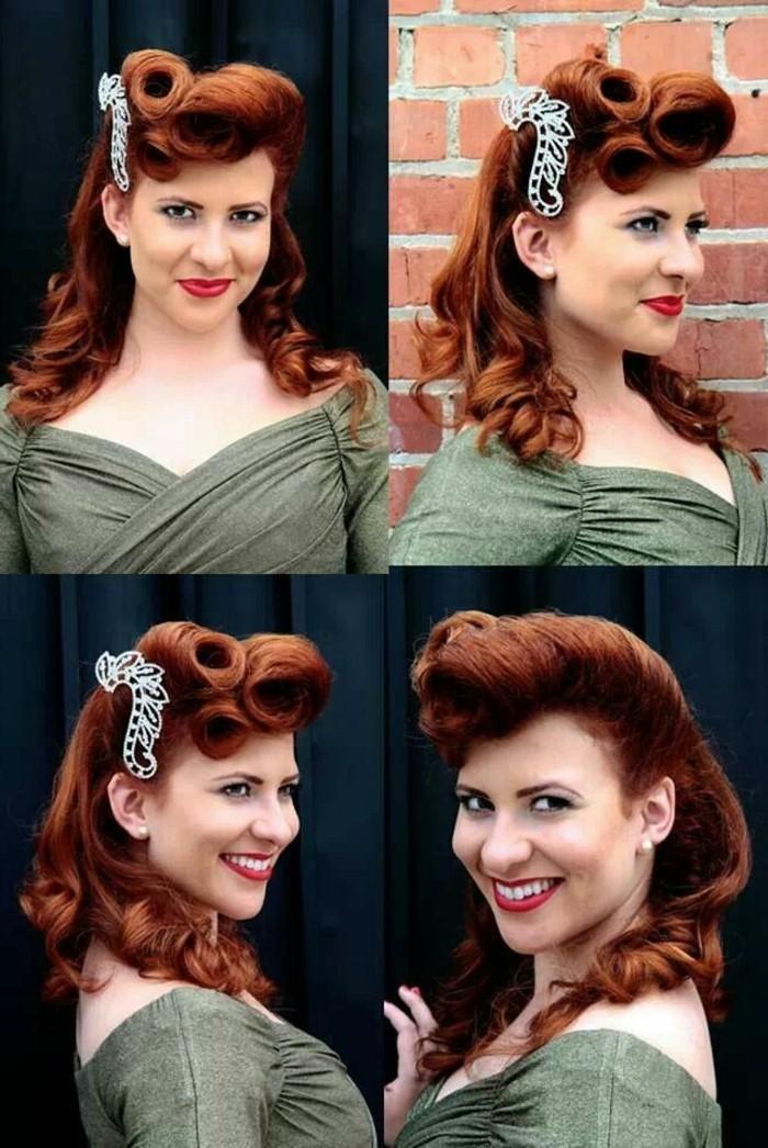 alucinantes ideas de peinados grease, pelo largo rizado en un semirecogido original con bonito adorno en el pelo