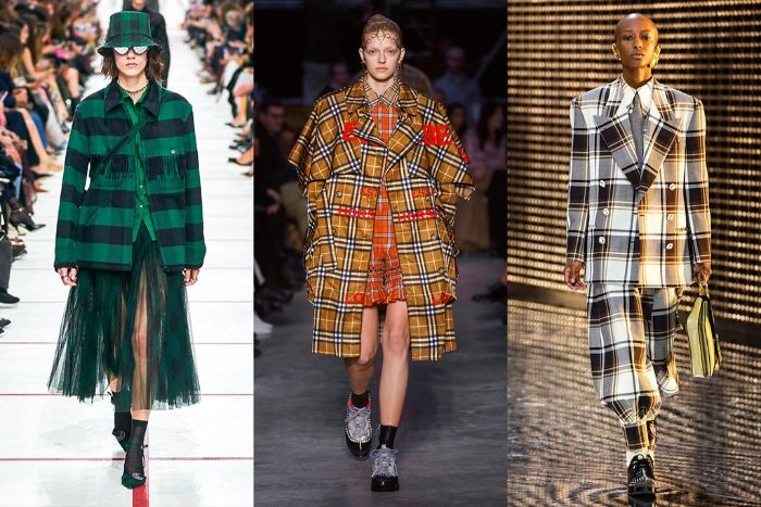 tendencias otoño 2019 en los colores, tejidos y estampados, prendas con print de cuadros en diferentes colores con hombros exagerados