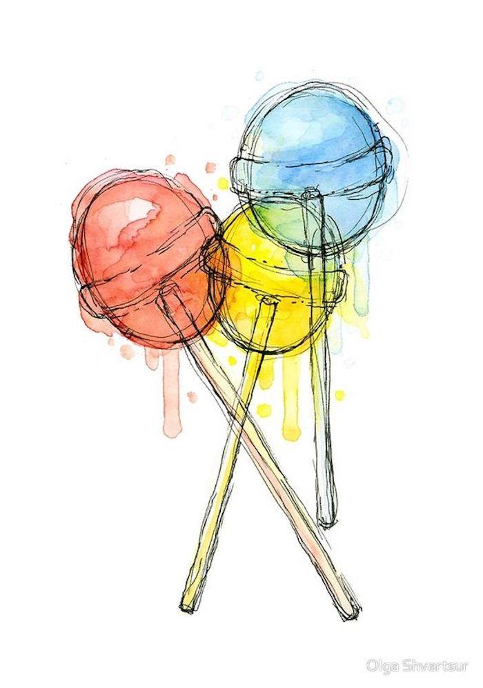 ideas de dibujos para niños fáciles y divertidos, cosas sencillas para dibujar, imágenes de dibujos originales, chupachups en colores