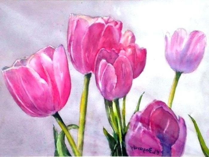 preciosos tulipanes en colores bonitos, dibujos para dibujar faciles, ramo de flroes en color rosado brillante con acuarelas