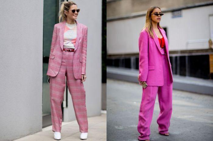 trajes en rosado de silueta maxy con chaquetas largas, pantalones anchos y estampado ed cuadros, que se lleva este otoño